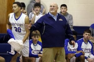 Coach Charlie Driscoll during St. Peter's basketball game